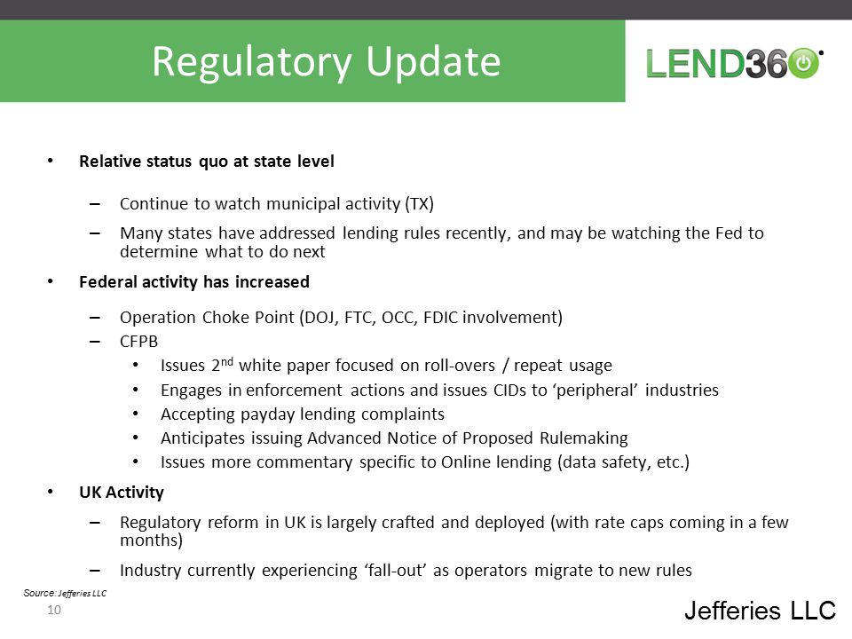 Regulatory Update Jefferies LLC Relative status quo at state level