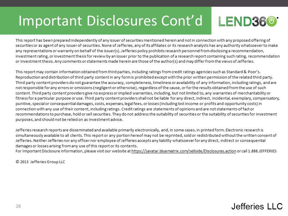 Important Disclosures Cont'd