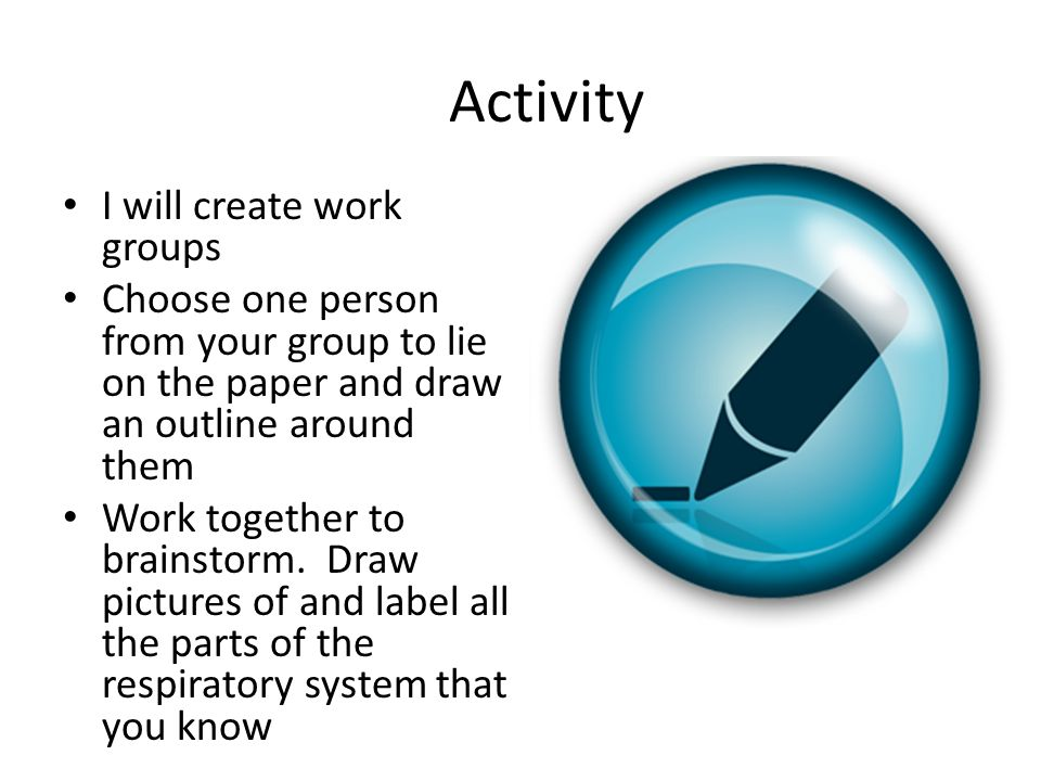 Activity I will create work groups