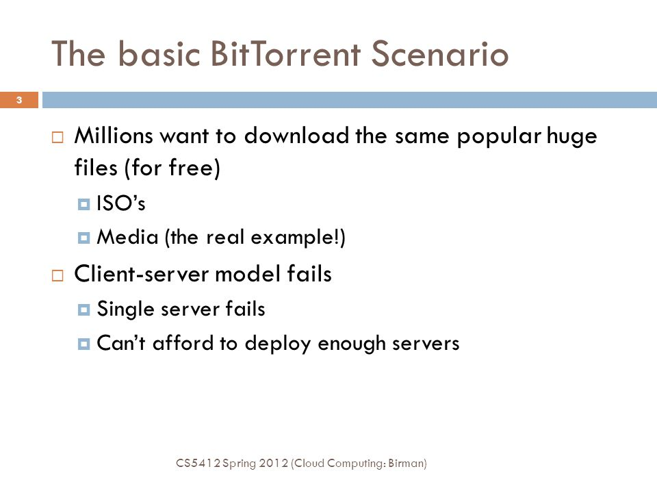 The basic BitTorrent Scenario