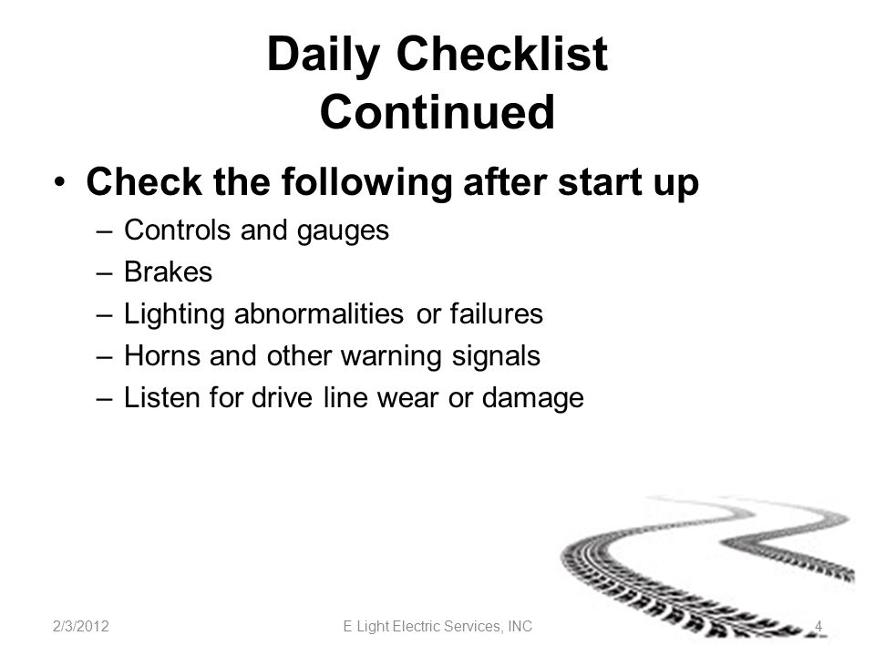Daily Checklist Continued