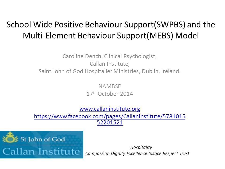 School Wide Positive Behaviour Support(SWPBS) and the Multi-Element Behaviour Support(MEBS) Model