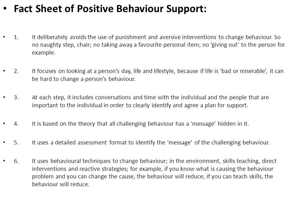Fact Sheet of Positive Behaviour Support:
