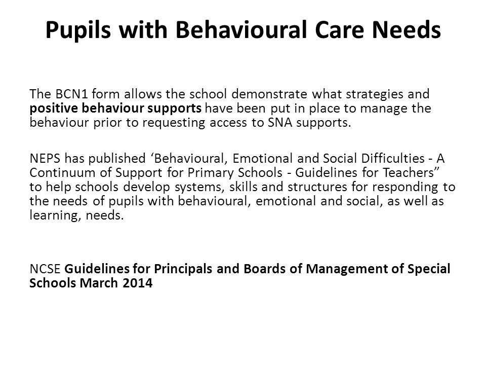 Pupils with Behavioural Care Needs