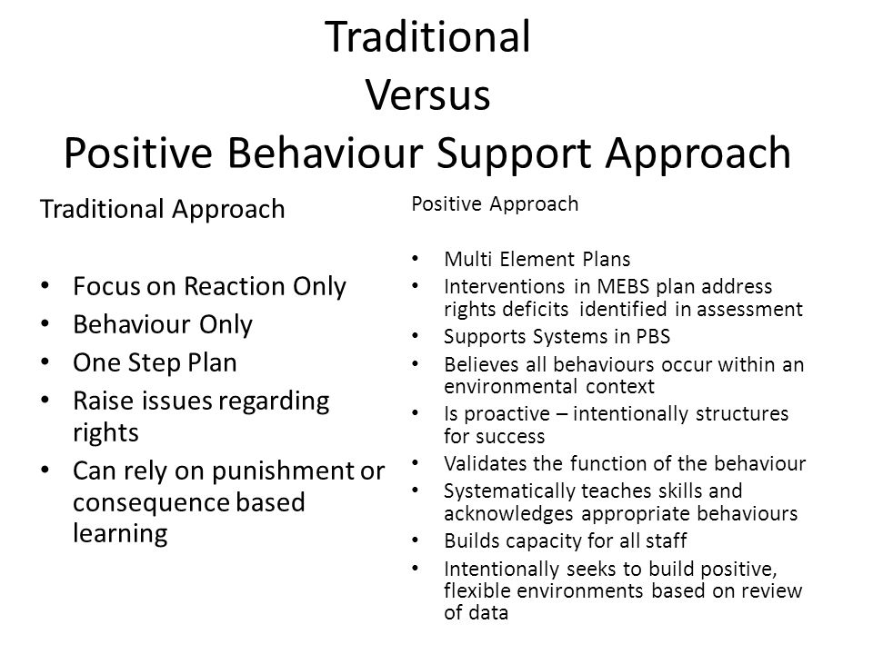 Traditional Versus Positive Behaviour Support Approach