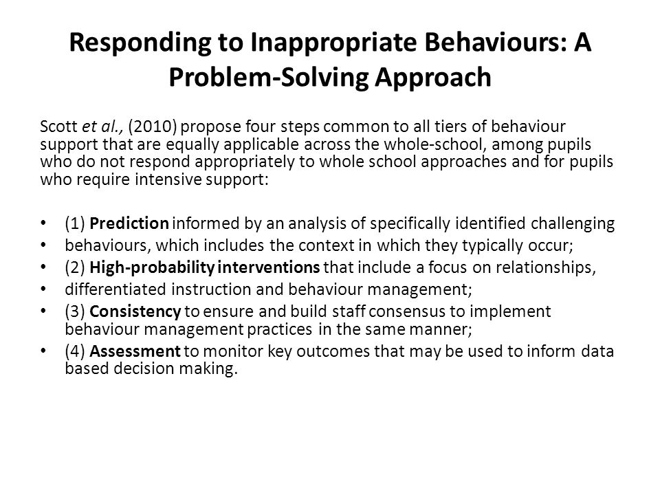 Responding to Inappropriate Behaviours: A Problem-Solving Approach
