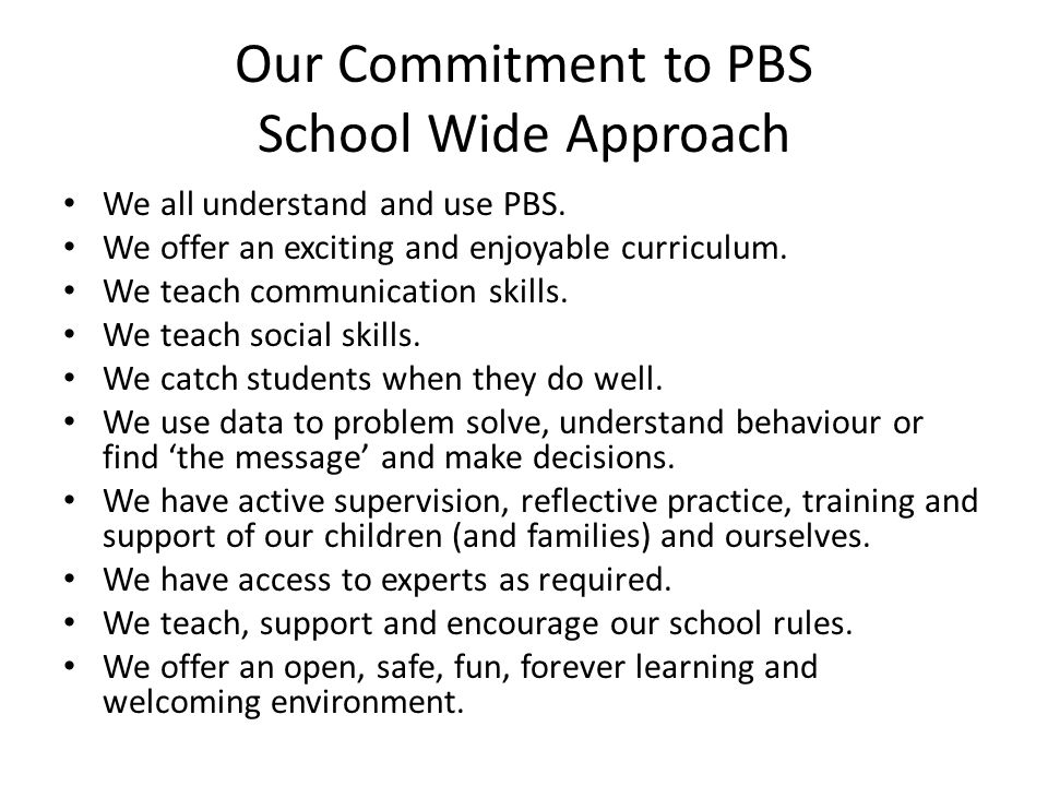 Our Commitment to PBS School Wide Approach