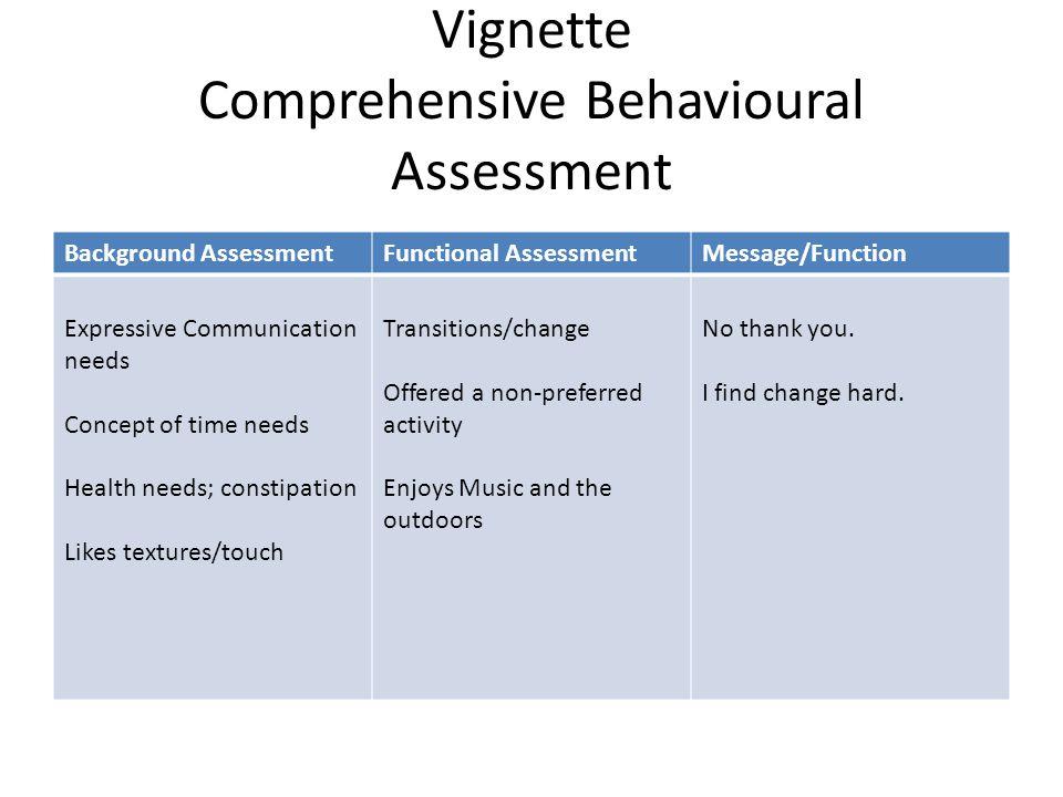 Vignette Comprehensive Behavioural Assessment