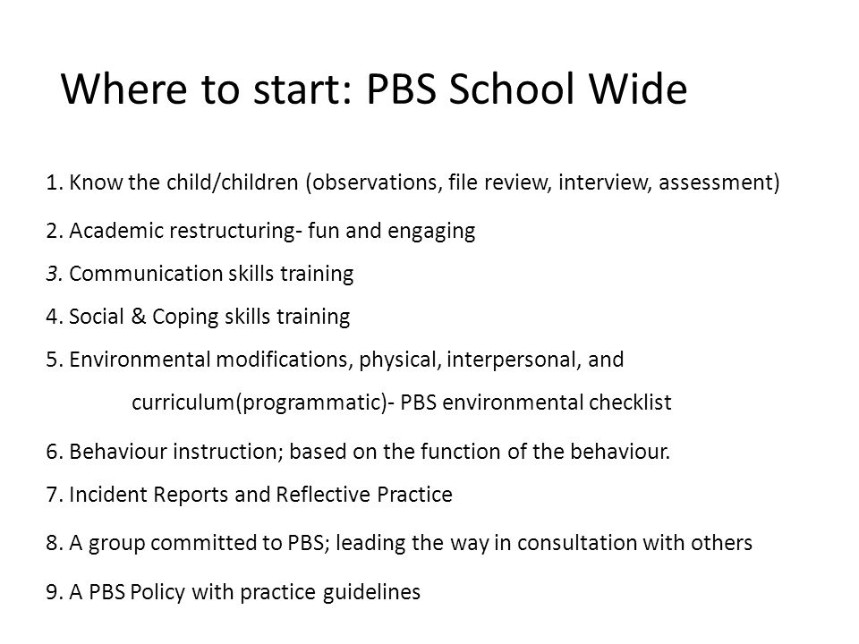 Where to start: PBS School Wide