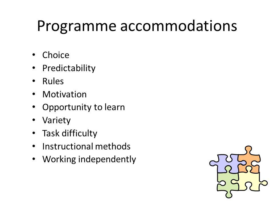 Programme accommodations