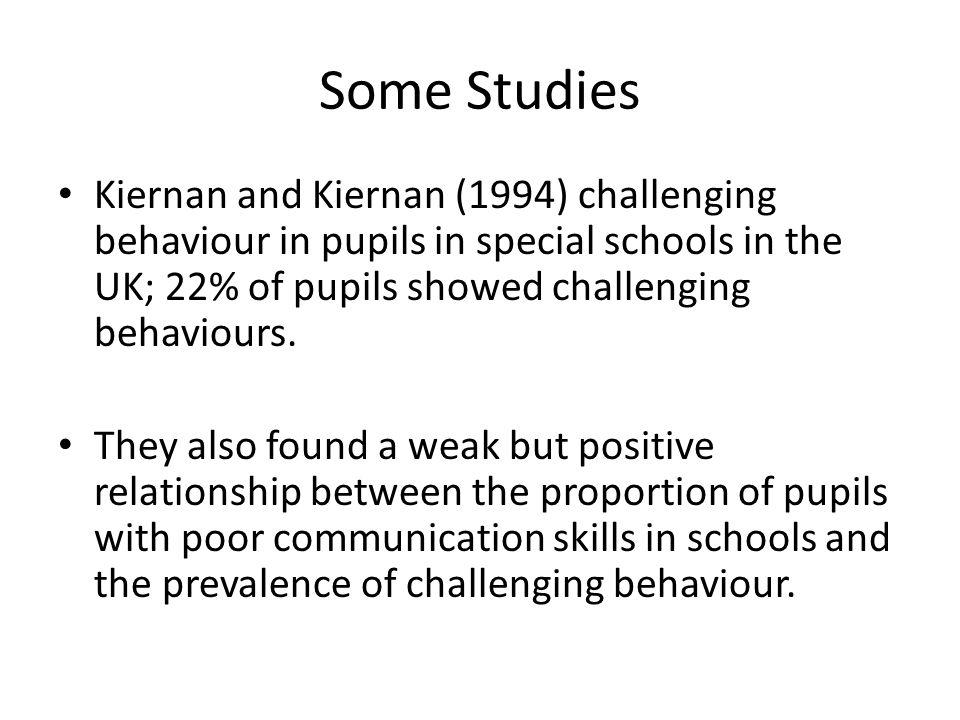 Some Studies Kiernan and Kiernan (1994) challenging behaviour in pupils in special schools in the UK; 22% of pupils showed challenging behaviours.