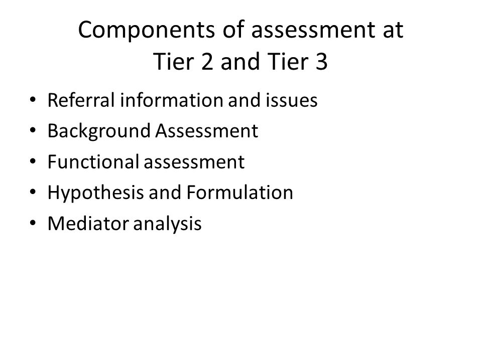 Components of assessment at Tier 2 and Tier 3