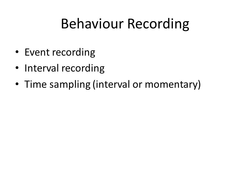 Behaviour Recording Event recording Interval recording