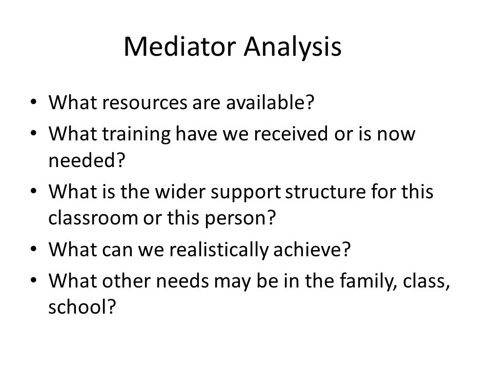 Mediator Analysis What resources are available