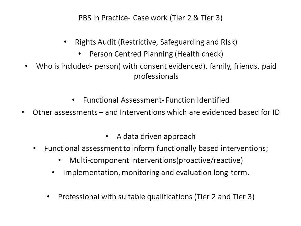 PBS in Practice- Case work (Tier 2 & Tier 3)