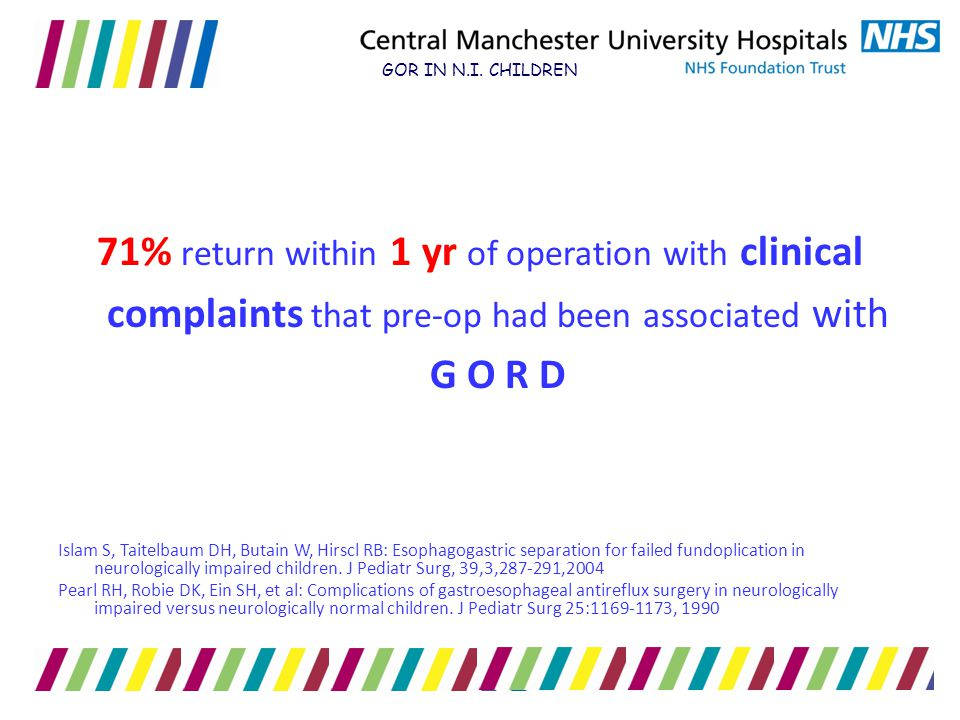 GOR IN N.I. CHILDREN 71% return within 1 yr of operation with clinical complaints that pre-op had been associated with G O R D.