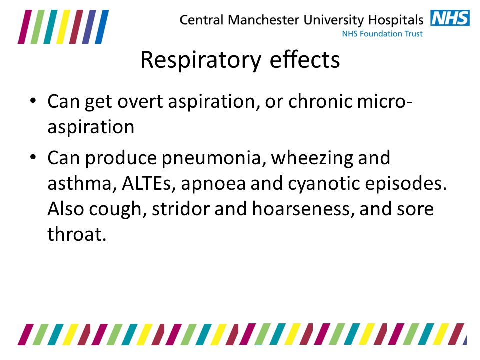 Respiratory effects Can get overt aspiration, or chronic micro-aspiration.