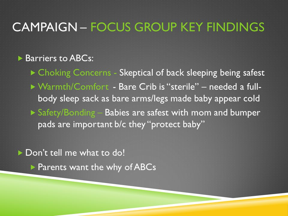 Campaign – Focus Group Key Findings