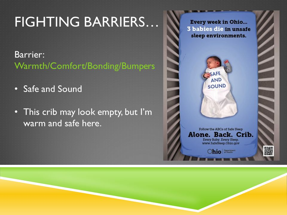 Fighting barriers… Barrier: Warmth/Comfort/Bonding/Bumpers