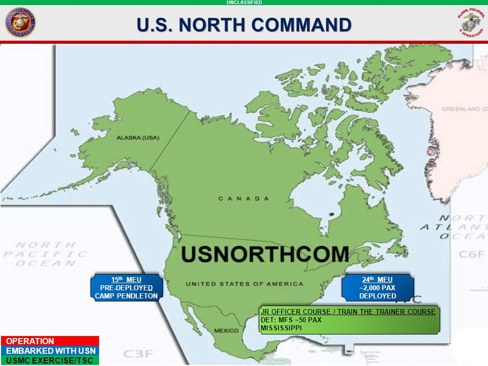 U.S. NORTH COMMAND NORTHCOM SLIDE:
