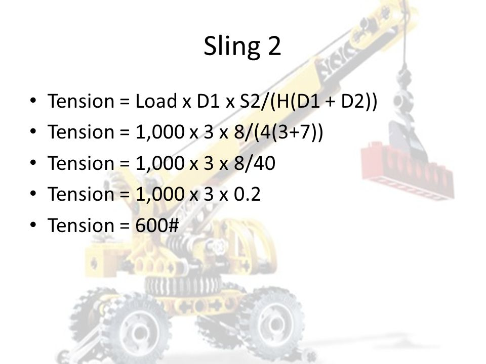 Sling 2 Tension = Load x D1 x S2/(H(D1 + D2))