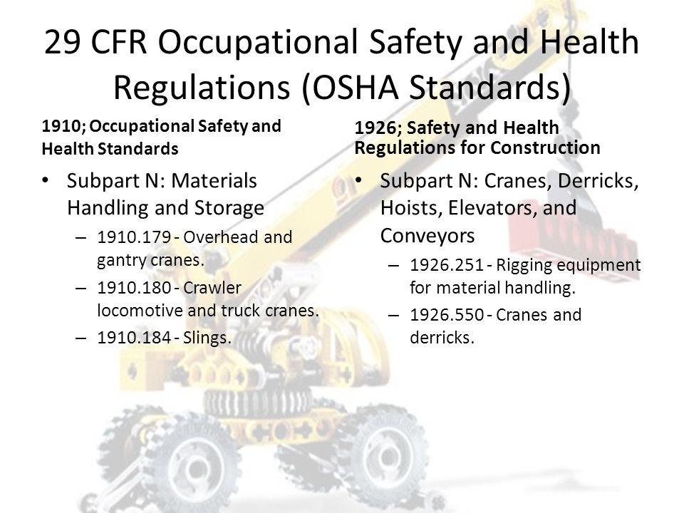 29 CFR Occupational Safety and Health Regulations (OSHA Standards)