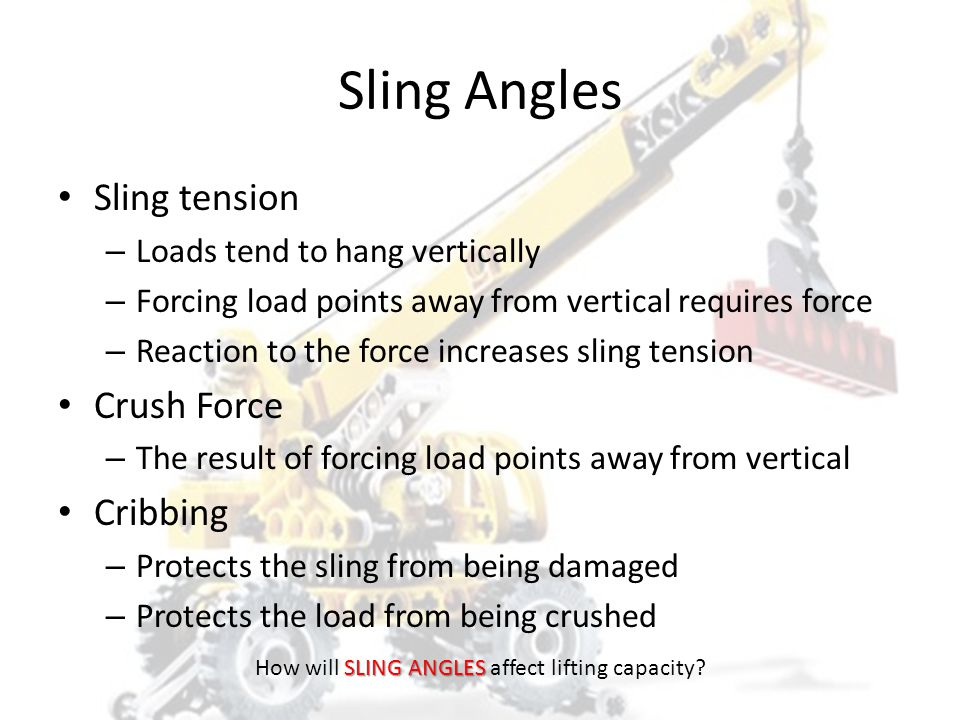 How will SLING ANGLES affect lifting capacity