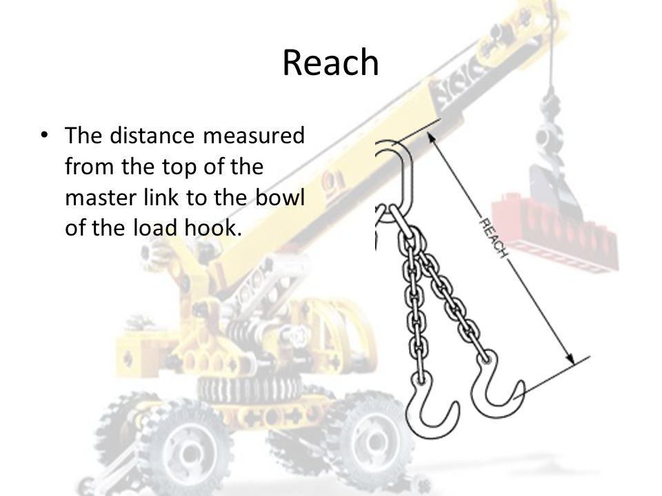 Reach The distance measured from the top of the master link to the bowl of the load hook.