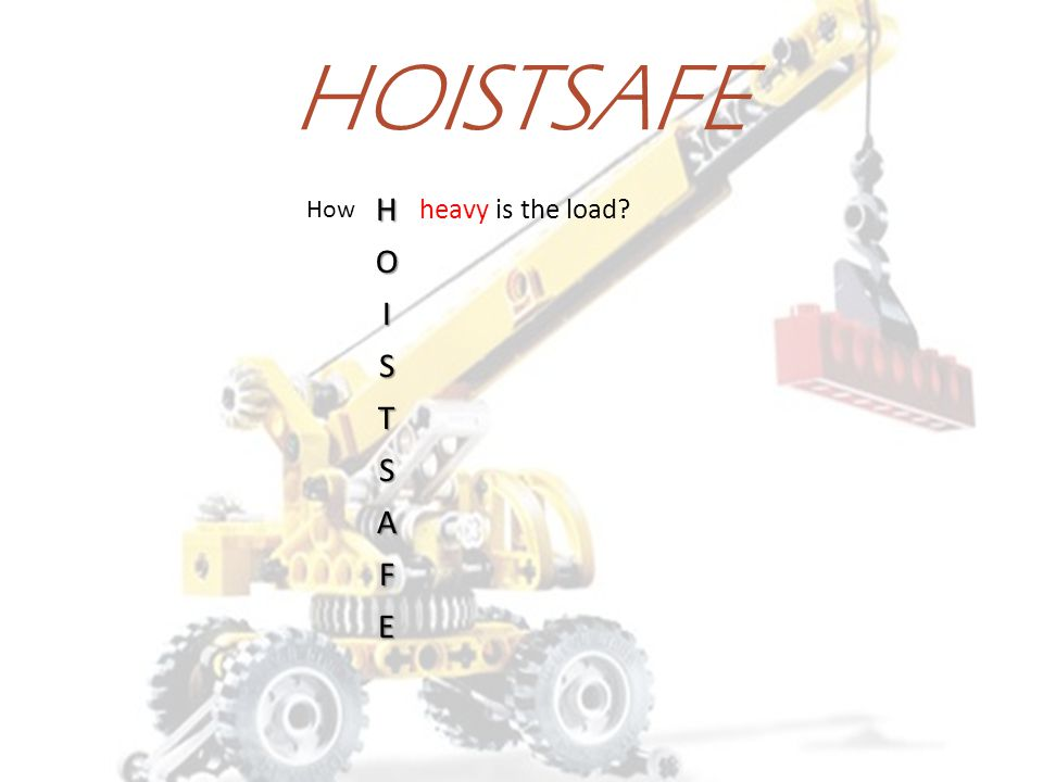HOISTSAFE How H heavy is the load O I S T A F E