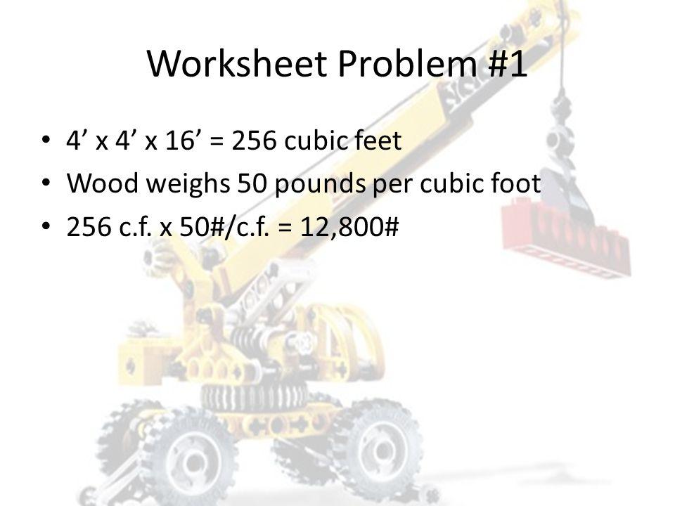 Worksheet Problem #1 4' x 4' x 16' = 256 cubic feet