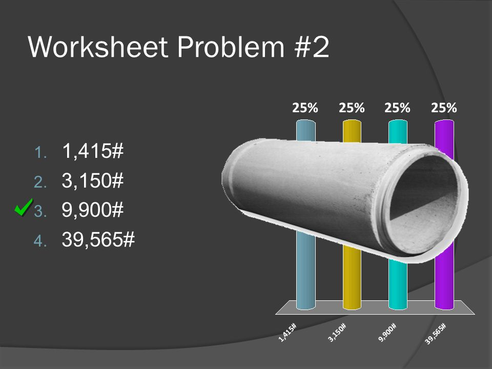 Worksheet Problem #2 1,415# 3,150# 9,900# 39,565#