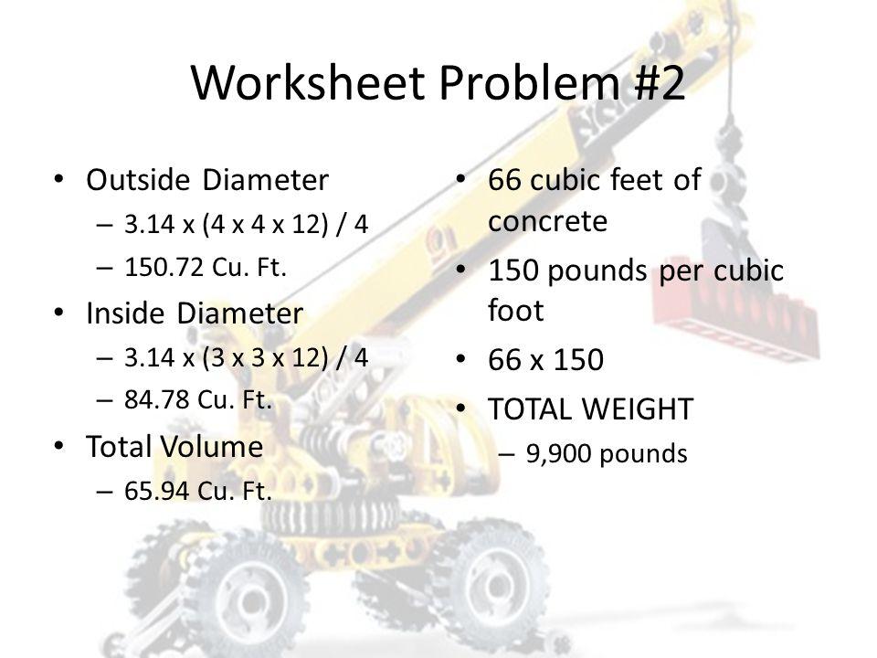 Worksheet Problem #2 Outside Diameter Inside Diameter Total Volume