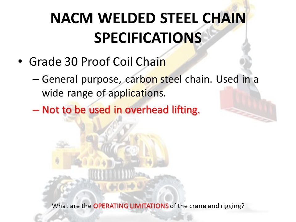 NACM WELDED STEEL CHAIN SPECIFICATIONS
