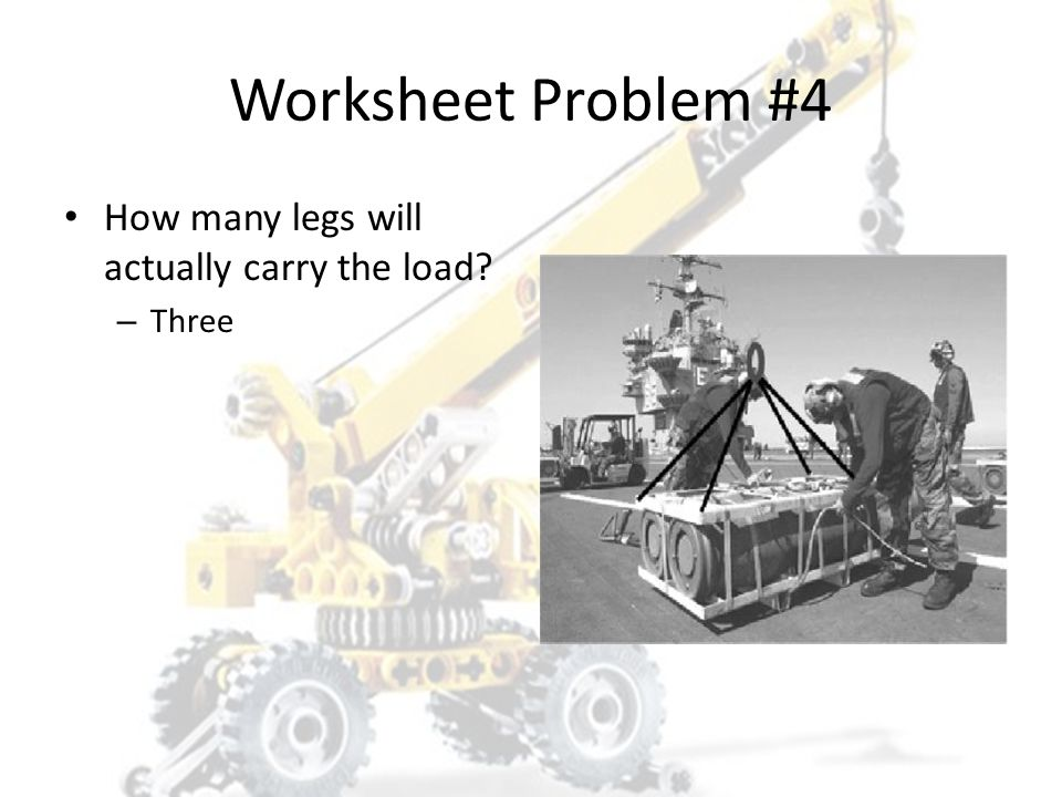 Worksheet Problem #4 How many legs will actually carry the load Three