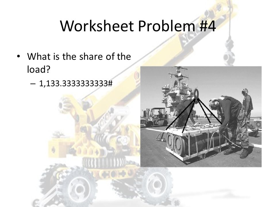 Worksheet Problem #4 What is the share of the load 1,133.3333333333#