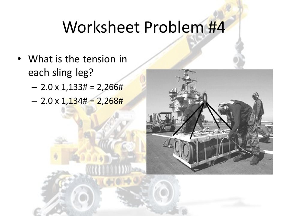 Worksheet Problem #4 What is the tension in each sling leg