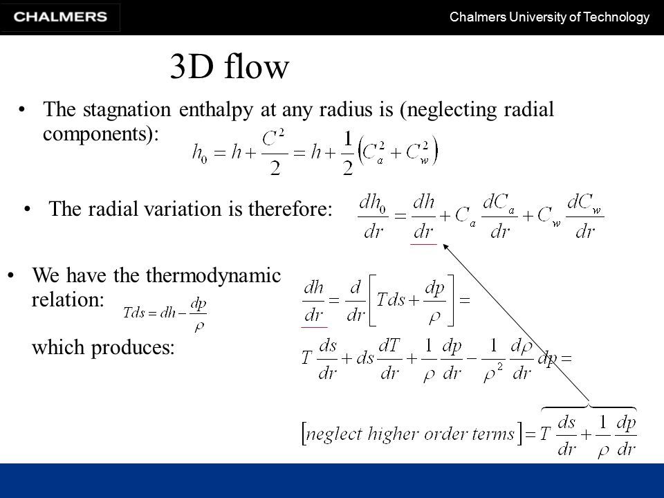 3D flow The stagnation enthalpy at any radius is (neglecting radial components): The radial variation is therefore: