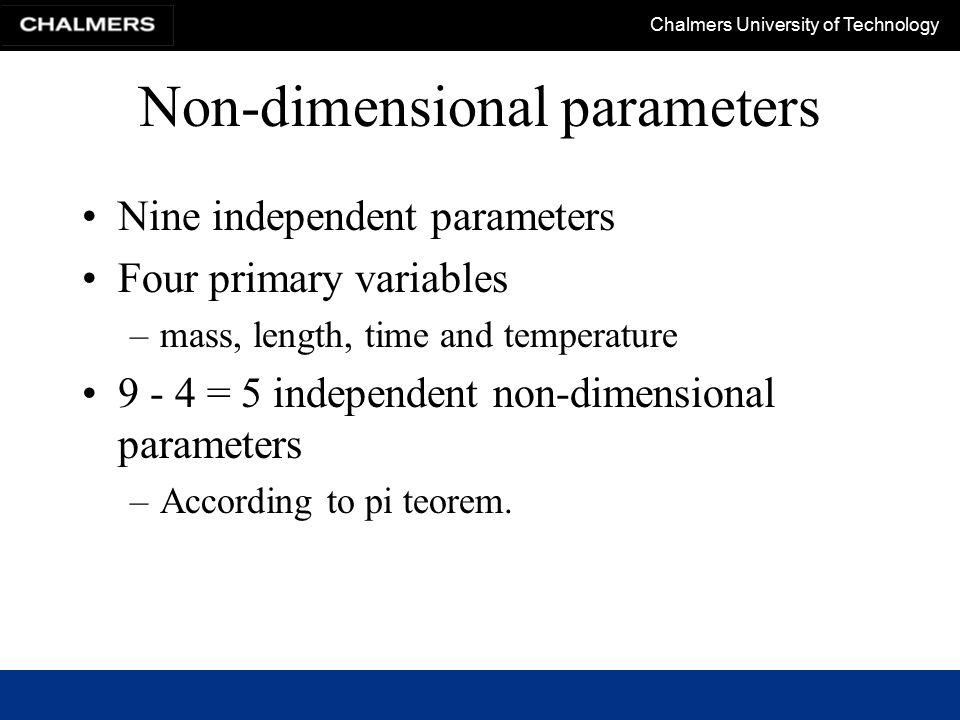Non-dimensional parameters