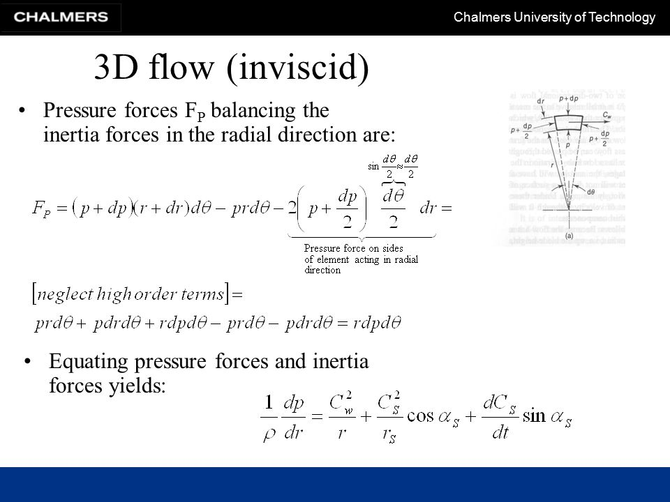 3D flow (inviscid) Pressure forces FP balancing the inertia forces in the radial direction are: