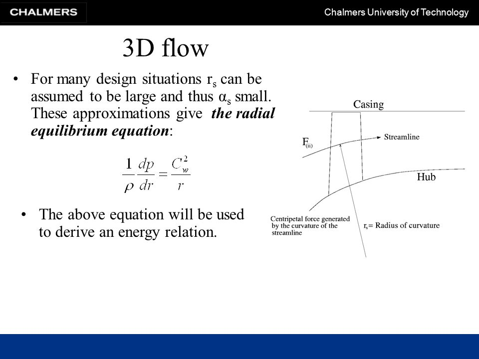 3D flow For many design situations rs can be assumed to be large and thus αs small. These approximations give the radial equilibrium equation: