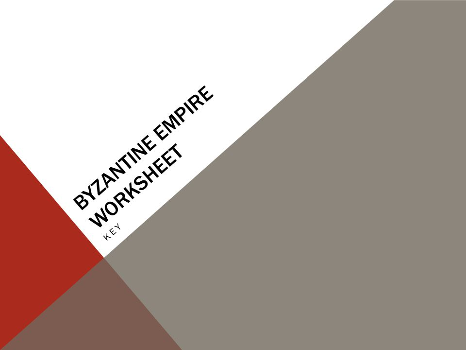 byzantine Empire Worksheet