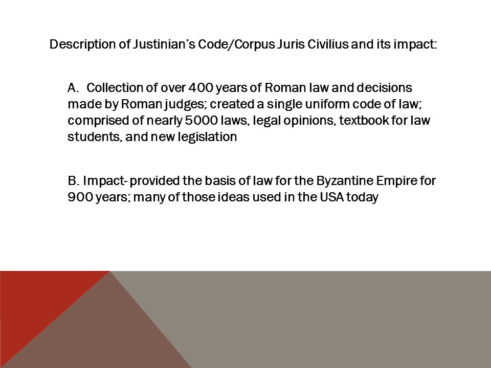 Description of Justinian's Code/Corpus Juris Civilius and its impact: A.