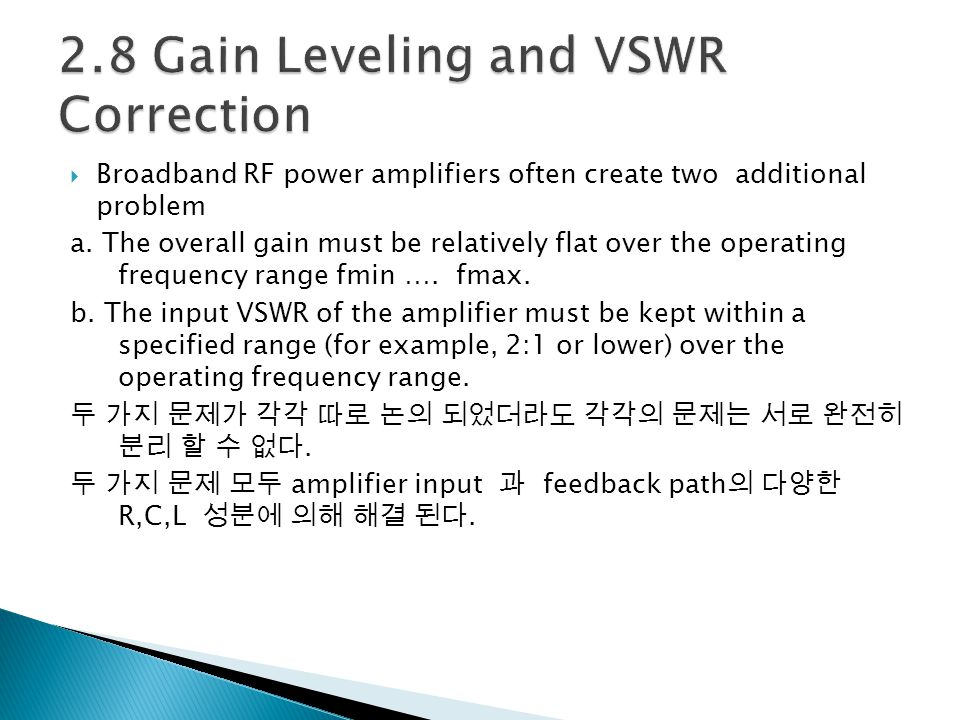 2.8 Gain Leveling and VSWR Correction