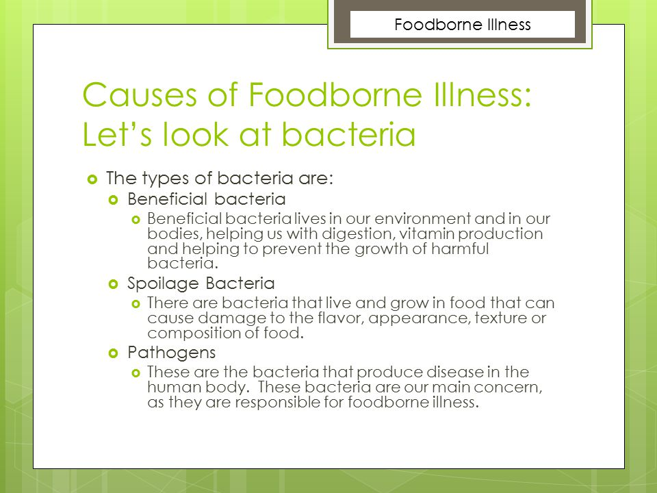 Causes of Foodborne Illness: Let's look at bacteria