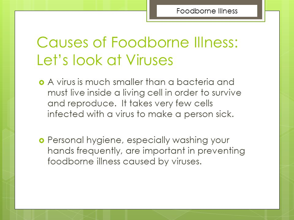 Causes of Foodborne Illness: Let's look at Viruses