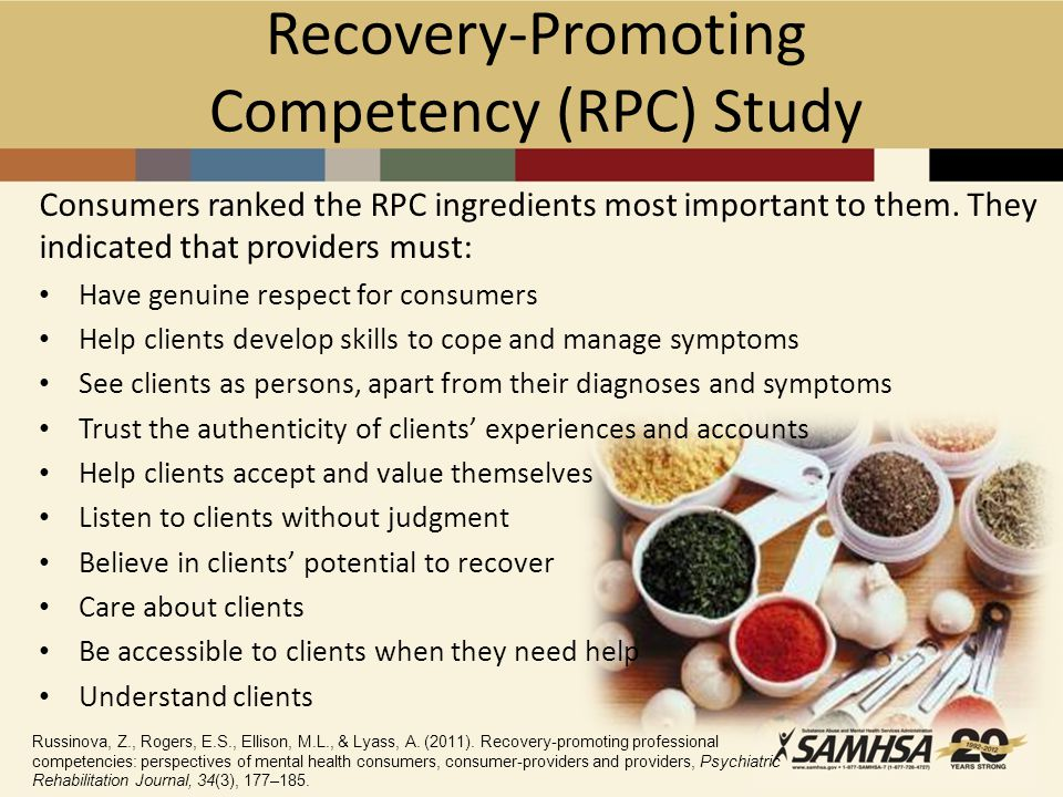 Recovery-Promoting Competency (RPC) Study