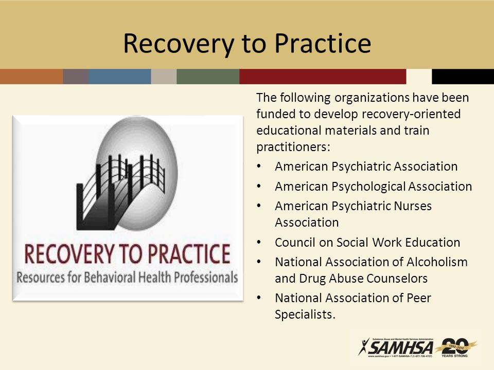 Recovery to Practice The following organizations have been funded to develop recovery-oriented educational materials and train practitioners:
