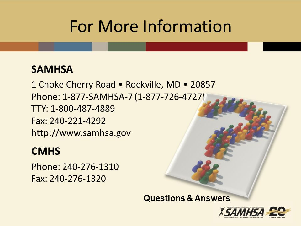 For More Information SAMHSA CMHS