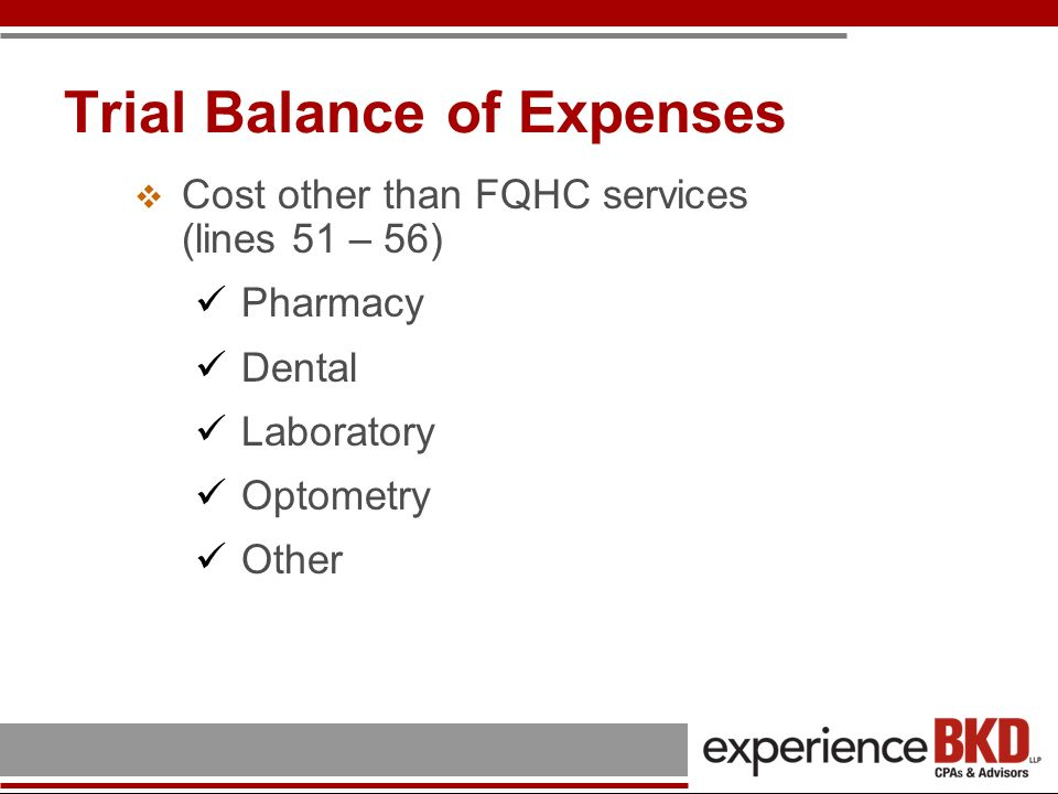 Trial Balance of Expenses