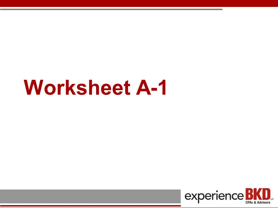 Worksheet A-1